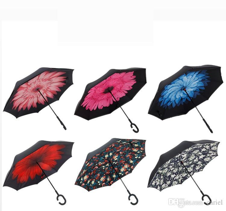 cariel nuovo antivento pieghevole a doppio strato rovesciato Chuva ombrello stand autonomo dentro e fuori protezione dalla pioggia C-Hook mani auto h111B