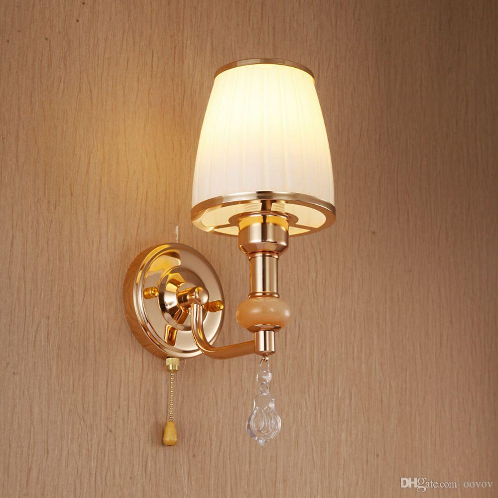 Moda Cristal Pasillo Balcón Luces de pared Moderna sala de estar Aplique de pared Dormitorio Lámparas de pared de cristal