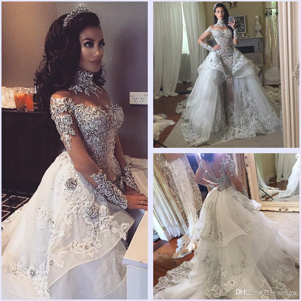 Großhandel Luxus Perlen High Neck Brautkleider Mit Abnehmbaren ...