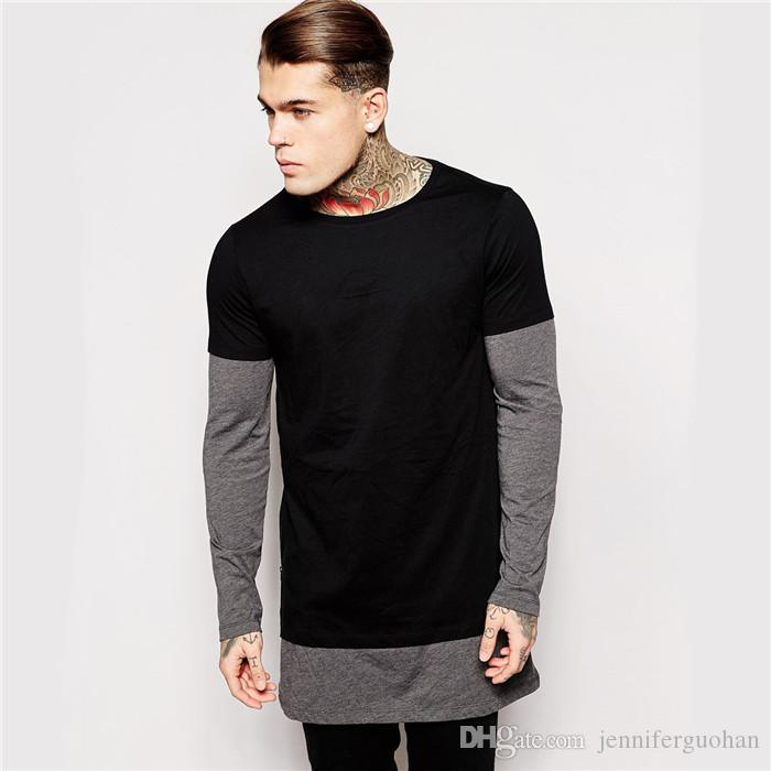 Plain Black Longline Two Tone T Shirt With Long Sleeve Swag ...