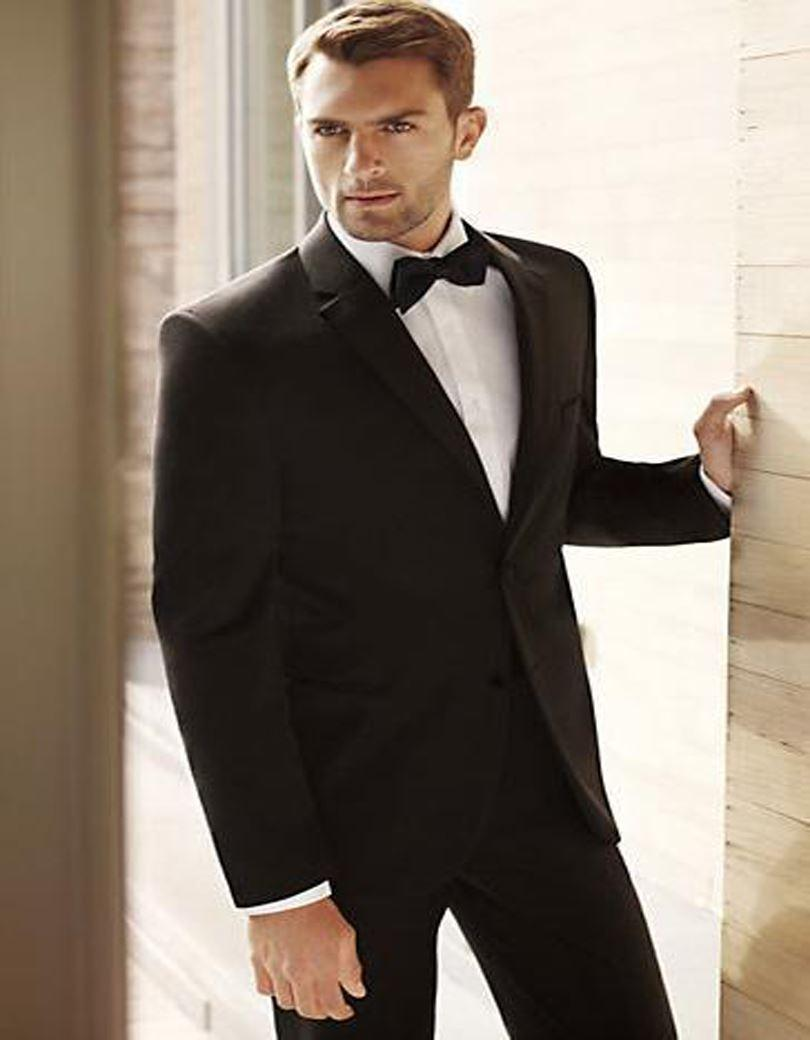 Hot Sale Men Tuxedos Black Wedding Suits Notched Lapel Groomsmen Two Button Suit Jacket Pants Bow Tie Red Prom Silver
