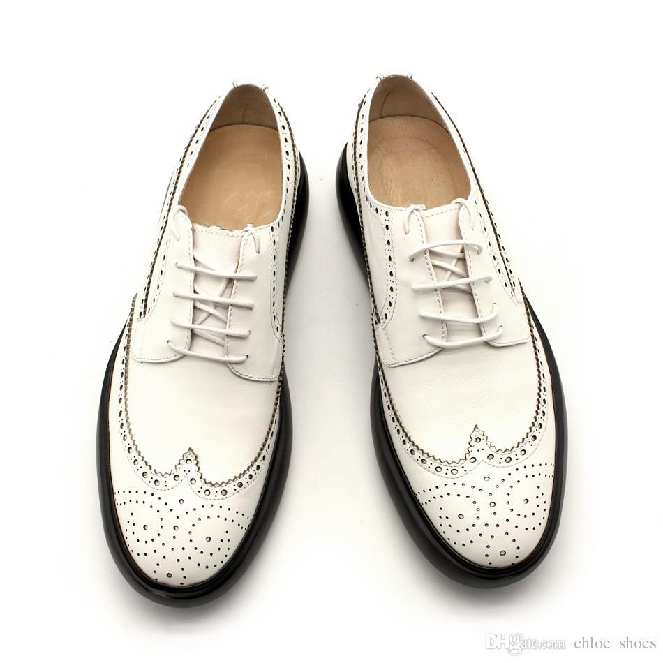 Mocassins Brogue Blanc Noir Chaussures Lâches Homme Printemps Eté Formelle D'affaires Chaussures Haut Zapatillas En Cuir Véritable Fait Main