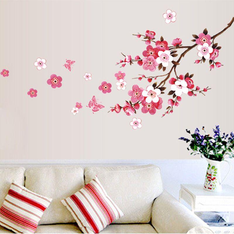Sıcak Yeni 3D Sakura Duvar Sticker Çıkartmaları Çıkarılabilir Duvar Paster Vinil Çıkartması Ev Dekorasyonu ücretsiz kargo