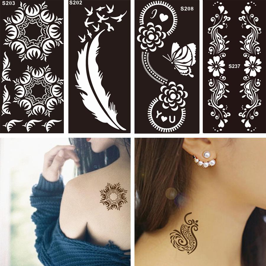 0831252c38975 Wholesale Disposable Black Fake Henna Indian Arabic Stencil Temporary Tattoo  Lace Wedding Women Body Art Paint Tattoo Sticker Designs Long Lasting  Temporary ...
