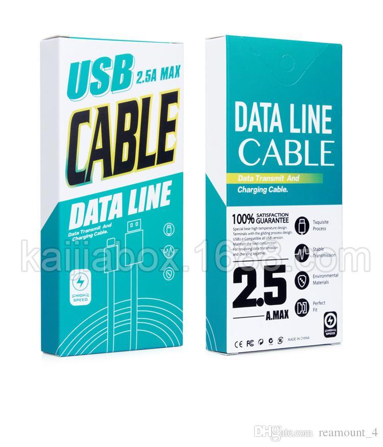 Impressão por atacado Logotipo Ratail Caixa De Embalagem De Papel Para USB Carregador de Dados Cabo Fit 1-1.5 Metros De Comprimento Para IOS Android