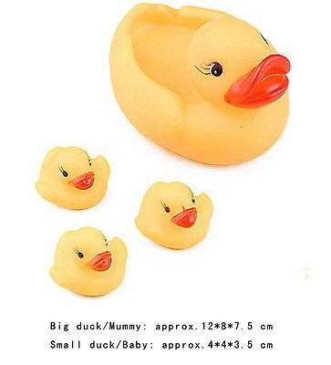 Cute Yellow Four Ducks Baby Infant Kids Bathing Floating Rubber Toys