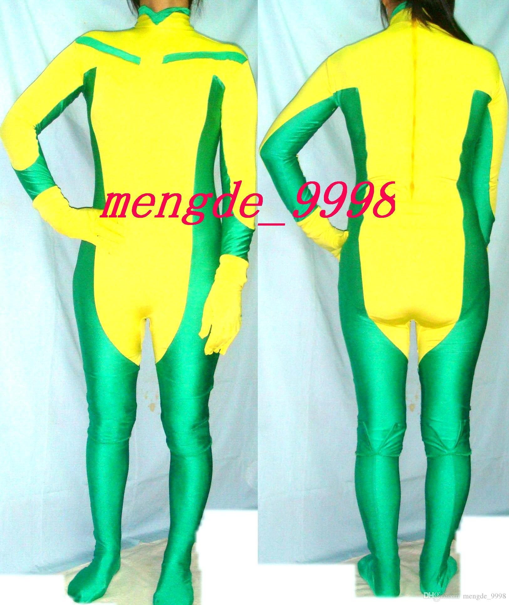 Sexy Rogue Body Suit Vert / Jaune Lycra Spandex Rogue Costume Catsuit Costumes Unisexe X-Men Rogue Costumes Outfit Halloween Cosplay Costume M178