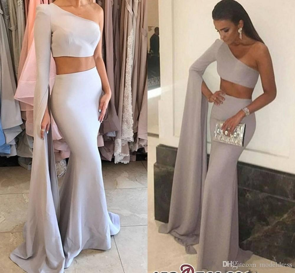 Modest Two Pieces Prom Dresses 2019 One Shoulder Long Sleeve Mermaid Long Sexy Silver Evening Pageant Party Gowns Cheap Custom Made