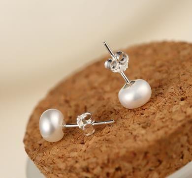 Charme boucles d'oreilles perle d'eau douce naturelles boucles d'oreilles 925 bijoux en argent Fashion Lady's mariage anniversaire bijoux en gros
