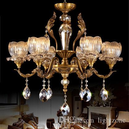 Chandelier european american style luxury copper crystal chandeliers chandelier european american style luxury copper crystal chandeliers lighting brass chandelier pendant lamp living room hotel lobby villa diy chandelier mozeypictures Images