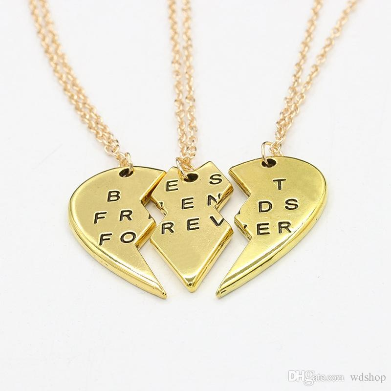 Best friend Engraved Pendant Necklace Birthday Gift Gold Silver Tone Split Puzzle Heart Couple Necklace BFF Friendship Necklace