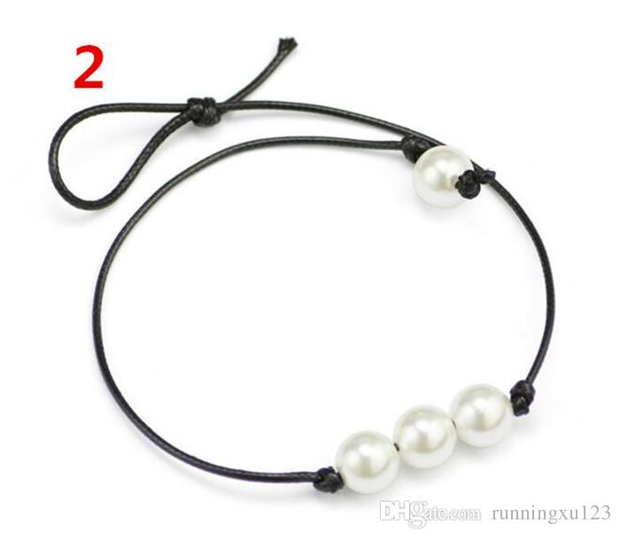 Frauen Mode Halsreifen Perlenkette Schmuck Handgefertigte Leder Seil Perle Anhänger Halskette Nachahmung Natürliche Frischwasserperlenkette A113