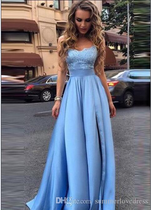 2017 New Elegant Light Blue Strapless Satin Long Prom