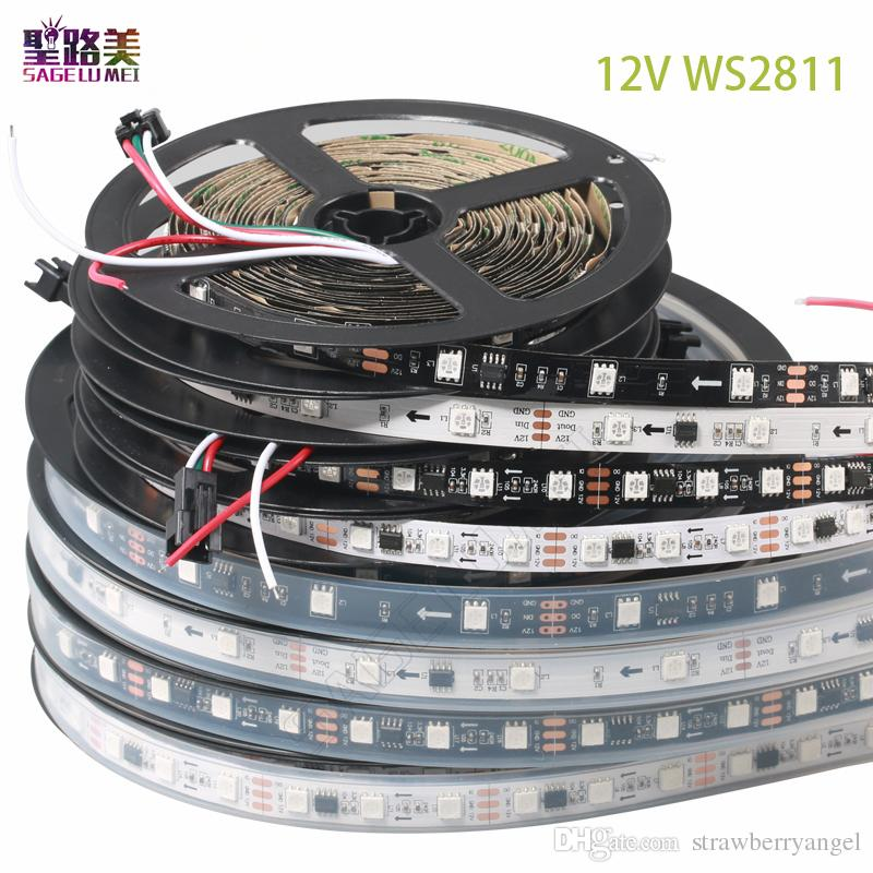DC12V SMD5050 RGB 60leds / m direccionables flexibles 300 pixeles ws2811 pixeles llevados tiras de luces 2811 led cinta externa ic, control de 1 ic 3 leds