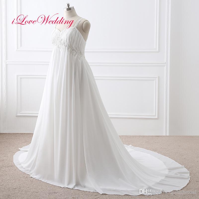 Vintage Robes de Mariée Appliqued en mousseline de soie pas cher modeste Sheer bretelles spaghetti taille plus 2017 femmes Robes de mariée d'été
