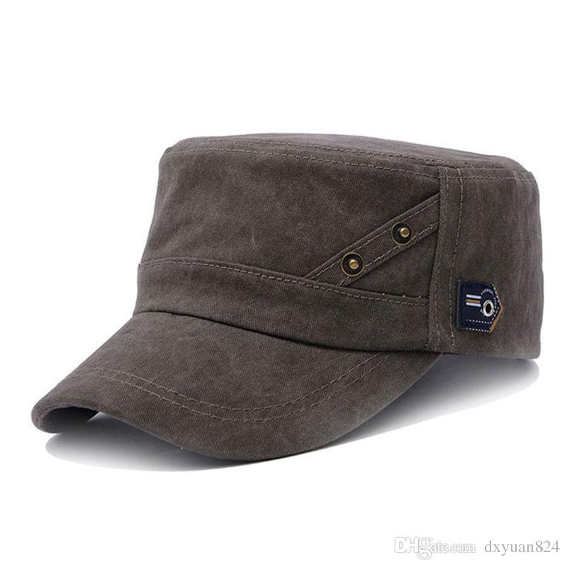0a05dc409f4 Fashion Men Women Flat Top Cap Cadet Army Military Hat Washed Do Old Cotton  Outdoor Sports Baseball Hat Solid Color Richardson Hats Headwear From  Dxyuan824