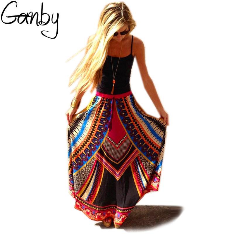 2018 ganby 2017 new summer indian women bohemian plus size skirt