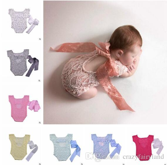 82db8a45b738 Newborn Baby Girl Lace Bow Back Romper Jumpsuit Photography Prop ...