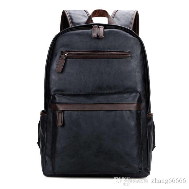 86564e733c Fashion Bag Leather Mens Laptop Backpack Casual Daypacks For College High  Capacity Trendy School Backpack Men Travel Bag Swiss Backpack Laptop  Rucksack From ...