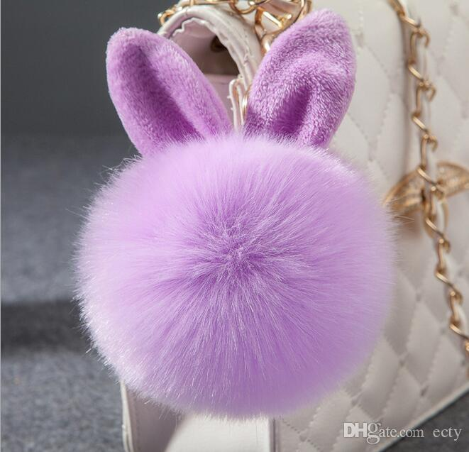 Lovely Artificial Rabbit Ear Fur Plush Key Chain for Car Lover Cartoon Keychain Ring Bag Pendant car keychains Mixed colors