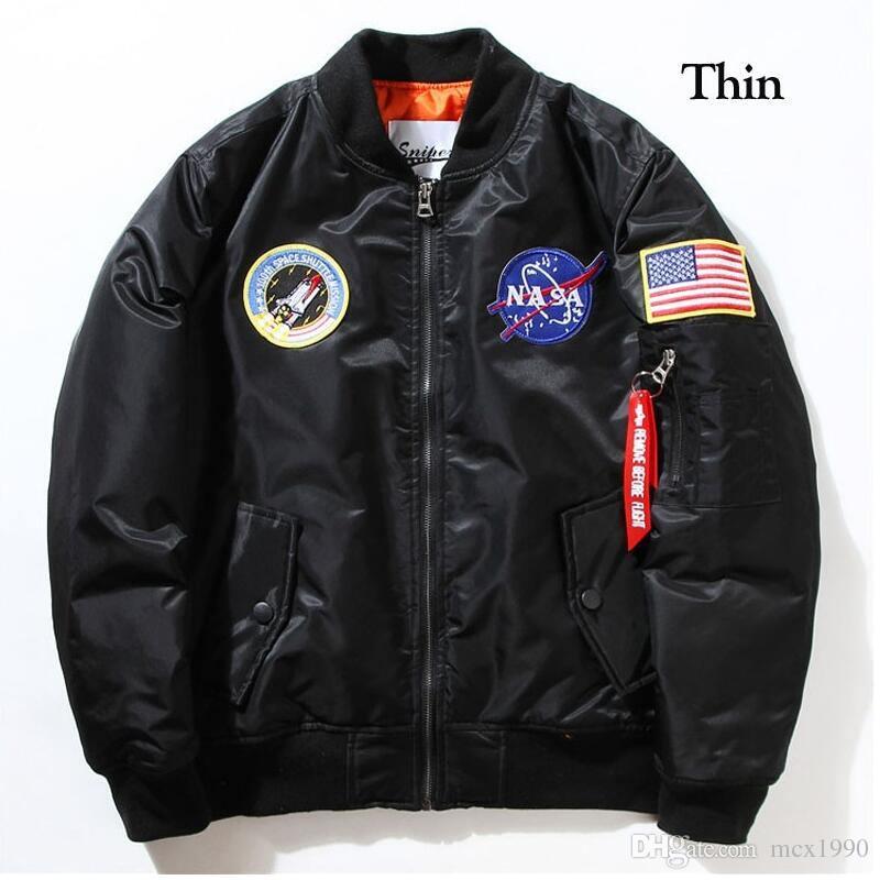 NASA Erkek MA1 Bombacı Ceket Insignia USAF Kanye West Hip Hop Spor Erkek Rüzgarlık Ceket Bayrak Mens Bahar İnce Kalın Bölüm Ceket