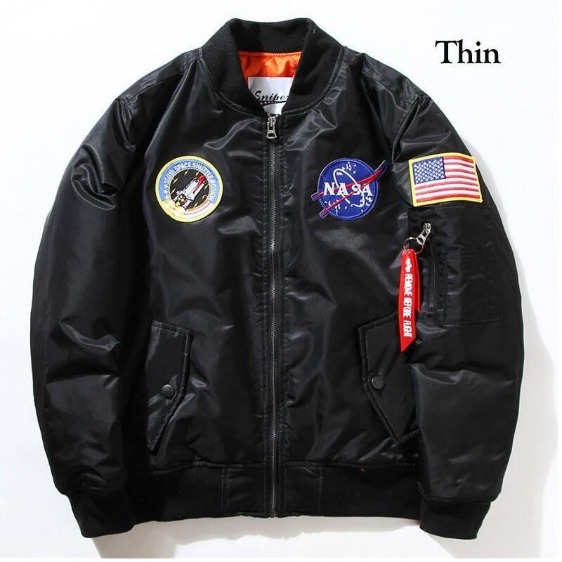 NASA Mens MA1 Bomber Insignia USAF Kanye West Hip Hop Sport maschile Windbreaker Jacket Flag Mens primavera sottile spessore Sezione Jacket