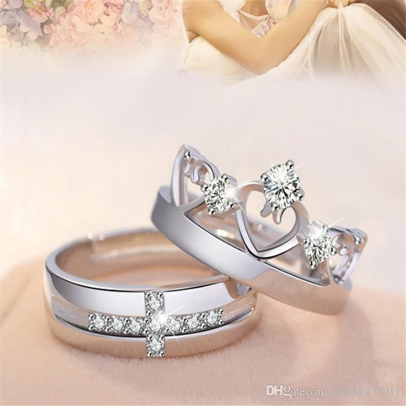 2018 New Lovers Rings Silver White Gold Open Size Zircon Love