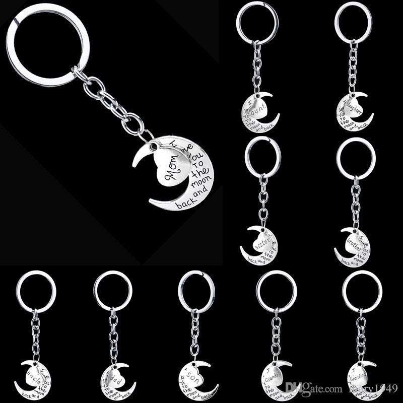 Moon Heart Key Rings Father Mom Sister Brother Famliy Member Keyring Silver Plated Alloy Keychains Holiday Gifs