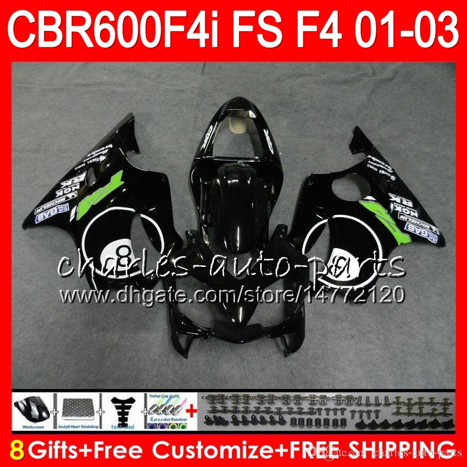 8Gifts 23 kleuren voor Honda CBR 600 F4I 01-03 CBR600FS FS 28HM21 8 BALL BLACK CBR600 F4I 2001 2002 2003 CBR 600F4I CBR600F4I 01 02 03 FUNLING