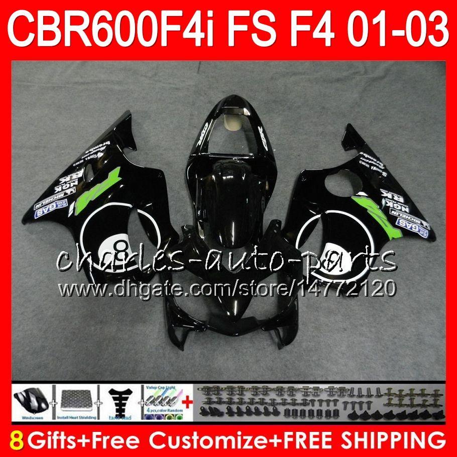 8Gifts Pour HONDA CBR 600 F4i 01-03 CBR600FS FS 28HM21 8 billes noir CBR600 F4i 2001 2002 2003 CBR 600F4i CBR600F4i 01 02 03 Carénage