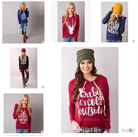 2018 women sweatshirt hoodies christmas sweatshirt autumn winter letter printed pullover long sleeve casual female sweatshirts female outwear from