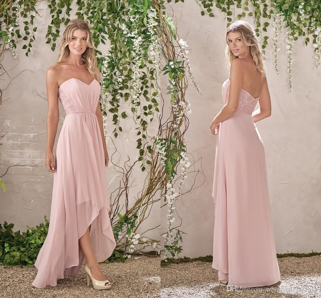 Blush Pink A Line Bridesmaid Dresses 2017 Hi Lo Chiffon Bridesmaid ...