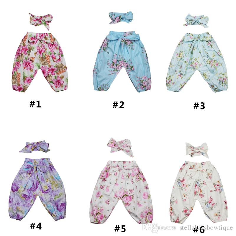 Fashion Girls Legging Spring Autumn Baby Girls Harem Pants Soft Cotton Full Length Girls Pant with Bow Top Knot Headband Set