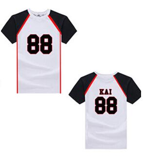 Wholesale- Exo T shirts love me right stage same exo numbers and names print men's women's supportive t-shirt size s-xl kpop tee shirt