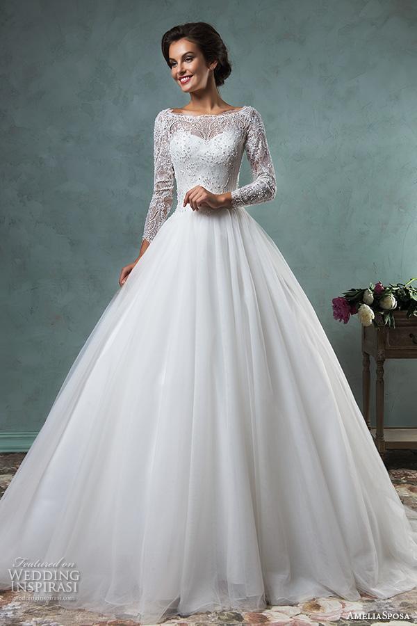 compre vestidos de novia de manga larga 2018 amelia sposa vestidos