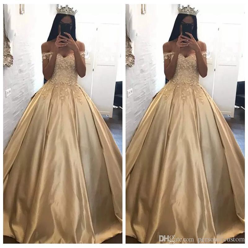 Beautiful Gold 3D Floral Appliques Quinceanera Dresses 2017 Off The Shoulder Corset ...