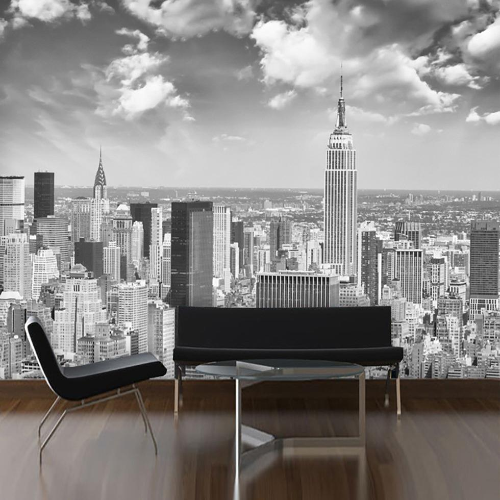 Wholesale 3d Mural Custom Wallpaper New York Black White City Landscape Large Bedroom Living Room Tv Background Wall Paper For Home Hd Wallpapers