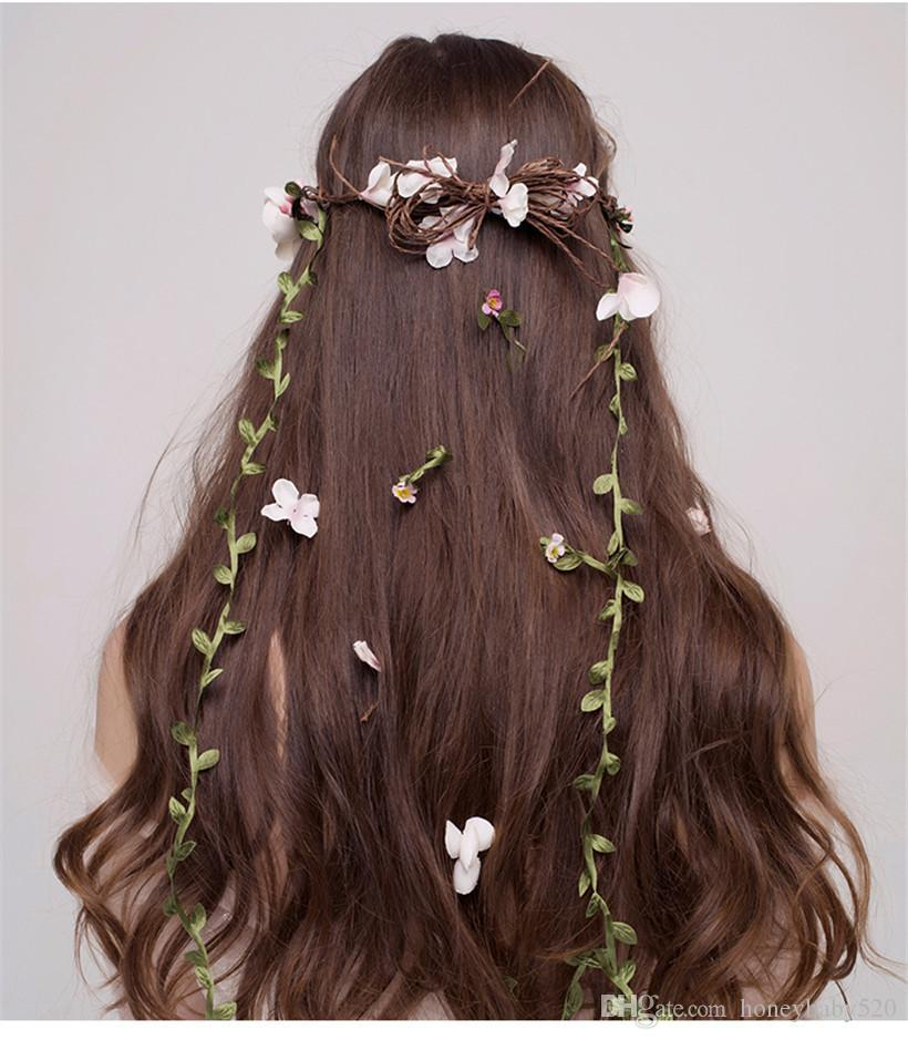 Brand New Wedding Bridal Pink Flower Boho Floral Garland Handmade Jewelry Hair Flowers Headband Hairband Headpiece Hair Accessories Tiara