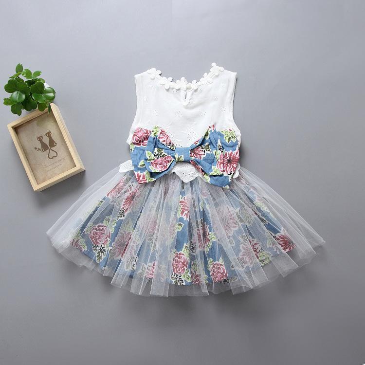 cea1593218c3b HUG ME summer girls cotton floral dresses little gir bow vest princess  dress baby floral tutu party dresses infant children lace dress