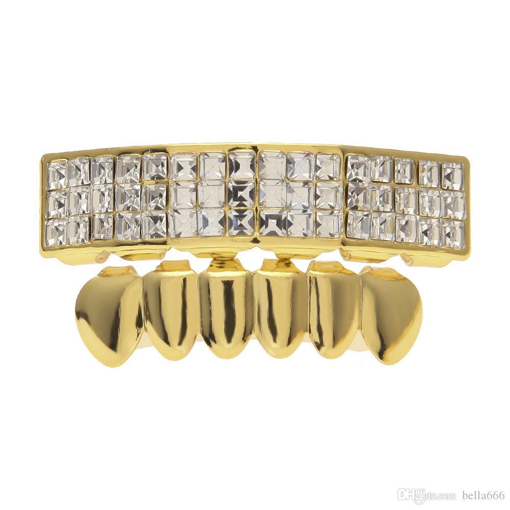 18K Gold Plated Grills Top Bottom Hip Hop Square Rhinestone Diamond Braces Caps Hiphop Dental Teeth Grillz Body Jewelry Set
