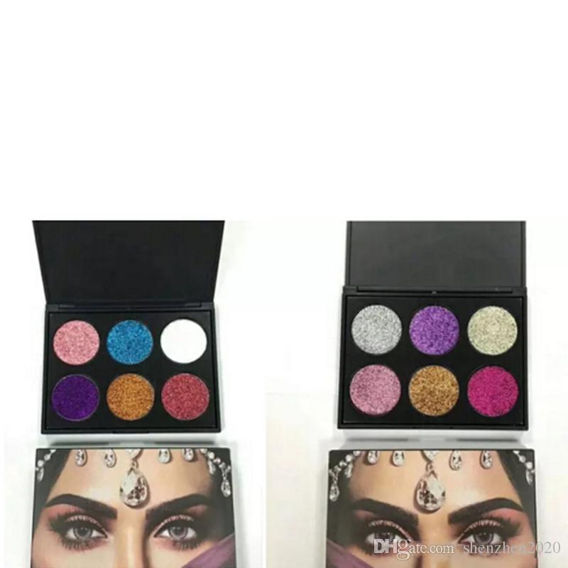 2017 neue heiße make-up glitter 6 farbe palette 2 stil lidschatten 6 farbe schönheit glitter dhl versand