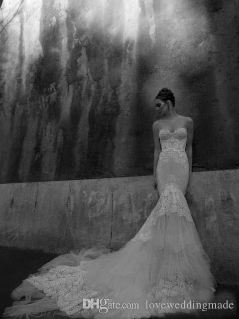 Wunderschöne Meerjungfrau Full Lace Brautkleider 2017 Schatz Backless Slim Korsett Mieder Illusion Tiers Trimed Fish Tail Brautkleider