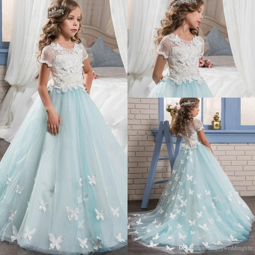 Short Sleeves Lace Top Pretty Flower Girl Dresses Jewel Neck A Line