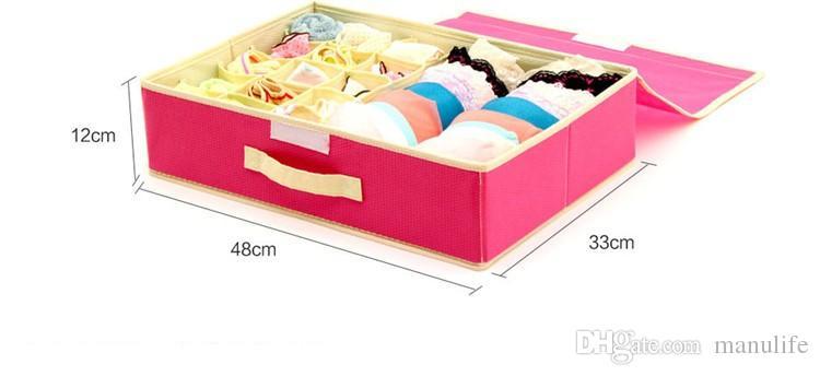 Bra Organizer Storage Drawers Underwear Storage Boxes Non-woven Covered Bra Combo Grid Wardrobes Organizers for Underwears