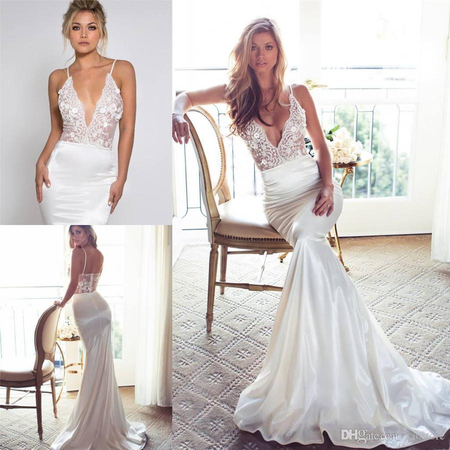 Deep V Neck Wedding Dress | 2017 Lurelly Lace Appliqued Wedding Dresses Mermaid Deep V Neck