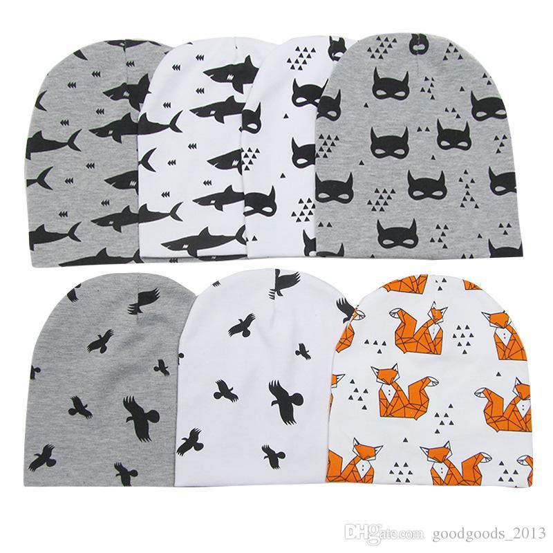 INS Newborn Hat Neckerchief Set Cotton Infant Beanie Baby Girl Boy Animal Geometry Printed Scarves Hats Kids Baby Accessories b1398