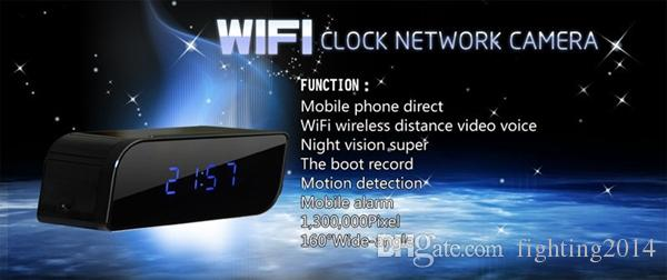 Clock Wifi IP P2P Camera HD 720P Night Vision wide angle 160 degree Motion Detection Home Security Network Camera Nanny Camera