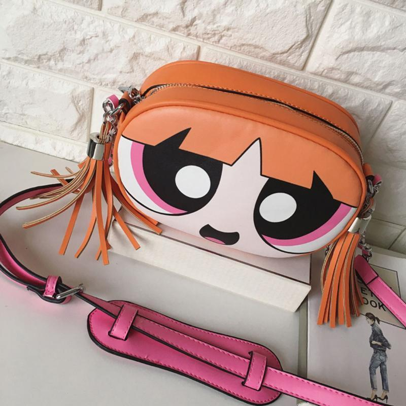 f5bd42be9b Powerpuff Girls Bag Women Famous Brands Ladies Handbag Messenger Bags 2017  Cute Cartoon Print Tassel Bag Designer Shoulder Bags Wholesale Handbags  Cheap ...