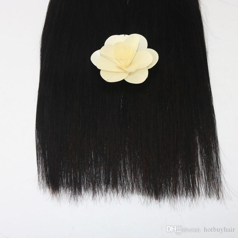 Hair Virgin Brazilian Skilly Straight Human Hair Weave Extension Unprocessed Bundle Natural Color Black 100g Pack