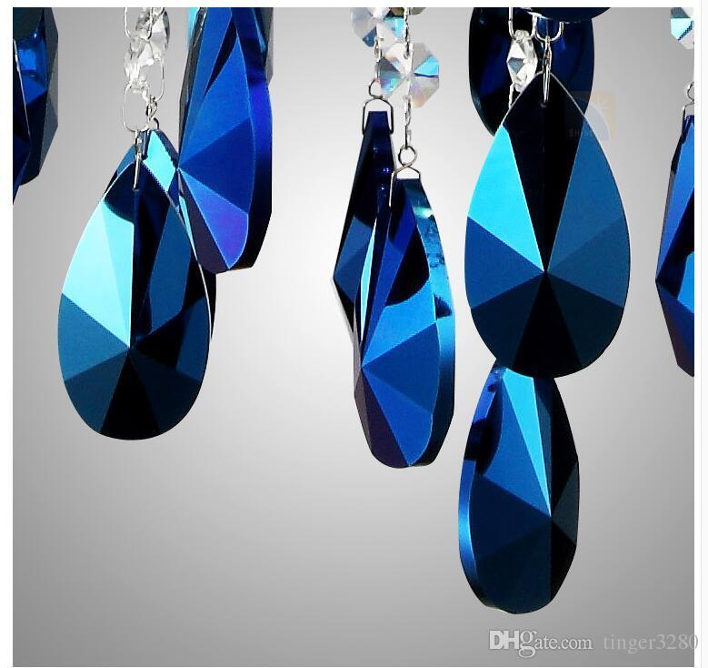 Livraison Gratuite Usine Vente Directe Moderne Bleu Foncé Cristal Pendentif Lampe AC Plafond Lampe 8L D75cm Lustre Salle À Manger Éclairage